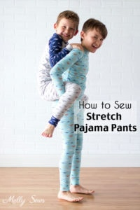 How to sew stretch pajama pants - Learn to sew these kids pajama pants out of stretch knit fabric