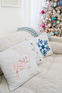 DIY Christmas word and graphic pillows - Joy pillow, embroidered snowflake pillow and graphic snowflake pillow