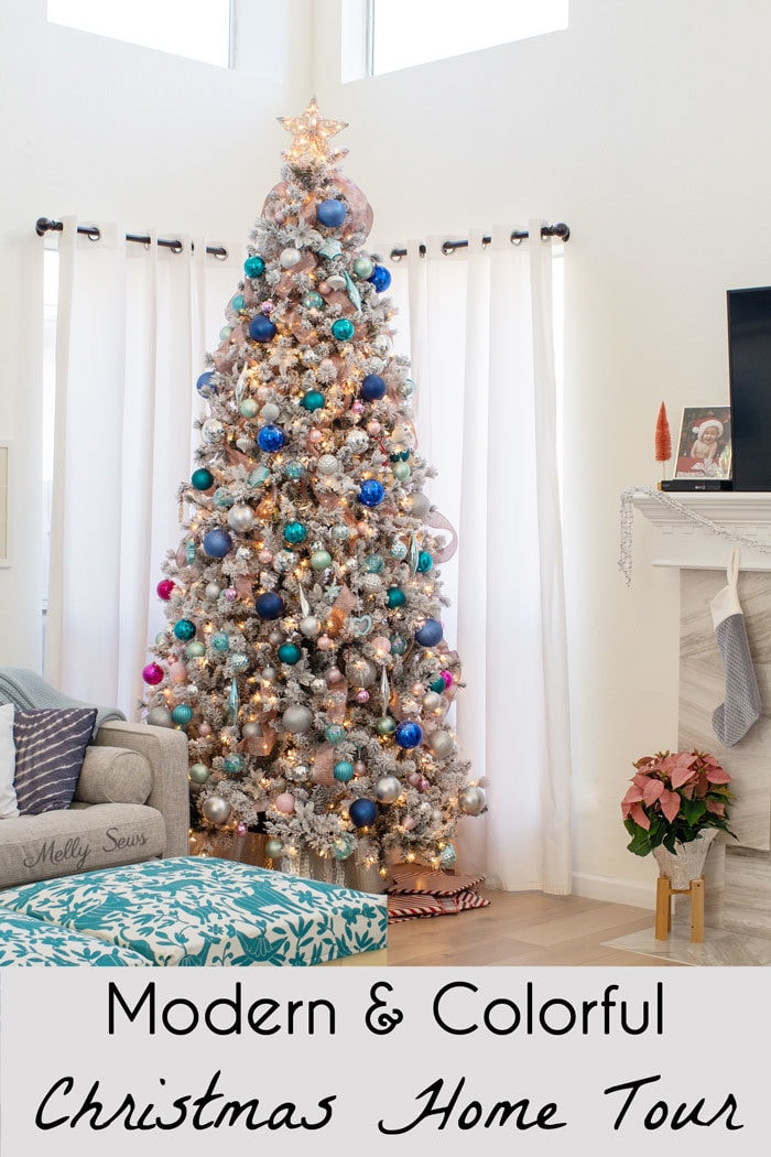 Modern colorful Holiday Home Tour - Silver, Blue, Pink, Aqua, Teal Flocked Christmas Tree