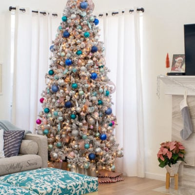 Blue, pink, teal, aqua flocked white Christmas tree modern holiday decor
