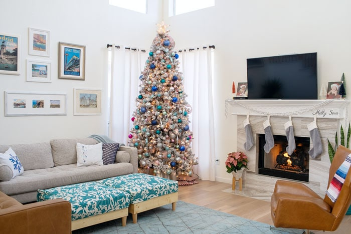 Modern eclectic Christmas home tour decorations with pink, silver, blue, aqua, teal Christmas tree