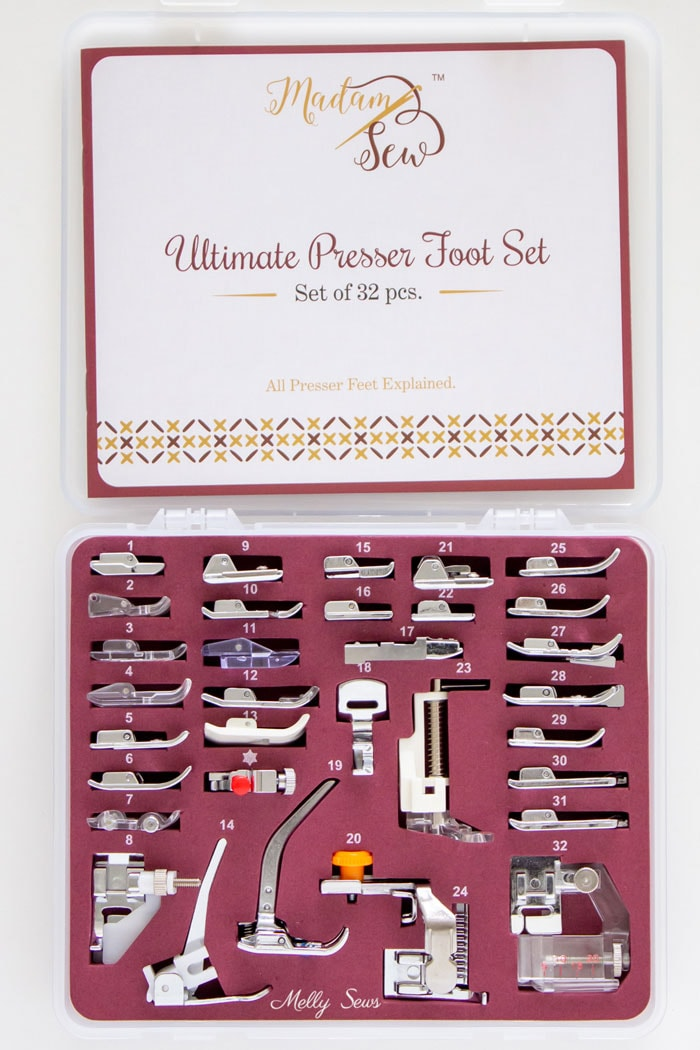 Madam Sew Ultimate Presser Foot Set of 32 Sewing Presser Feet with instructions