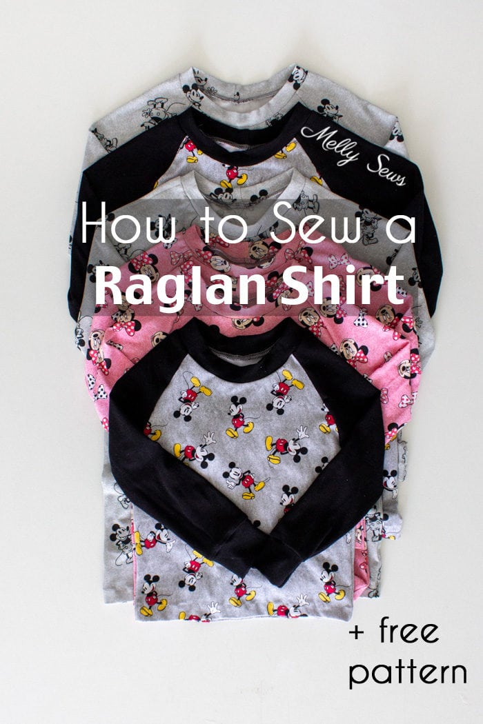 Stack of DIY raglan shirts sewn on a home sewing machine -  learn how to sew a raglan pajama top