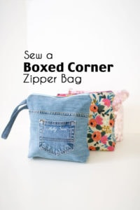 Sew a flat bottom zipper bag - learn how to make boxed corners - Melly Sews