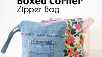 Sew a flat bottom zipper bag - learn how to make boxed corners - Melly Sews