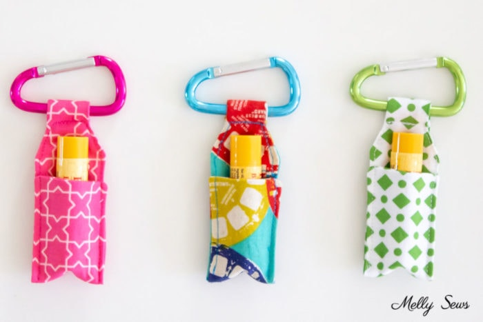 Three key ring lip balm holders that are easy gifts to sew from scraps