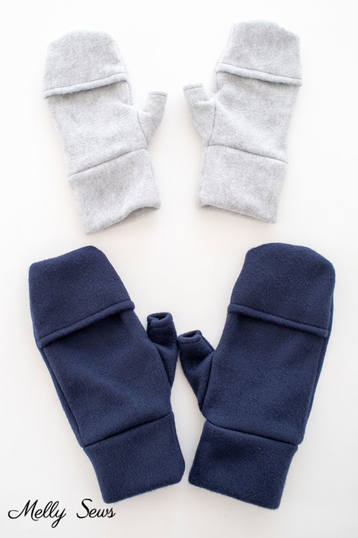Gray and navy fleece mittens with fingerless flaps