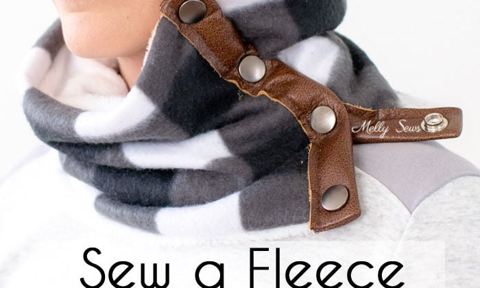 Buffalo Plaid fleece cowl with leather trim and snaps - perfect DIY gift to sew for men, women or kids using this tutorial