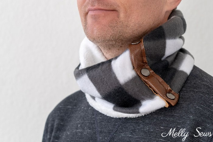 Idea for a gift to sew for men, a buffalo plaid fleece cowl with leather accents