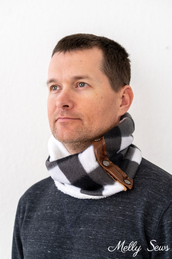 Man wearing a cowl neckwarmer sewing project example of gifts to sew for men