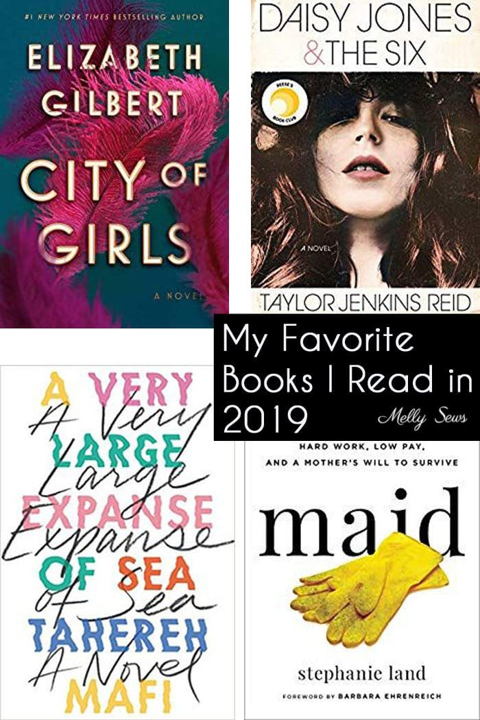Images of the best books I read in 2019 - City of Girls, Daisy Jones and the Six, A Very Large Expanse of Sea, Maid