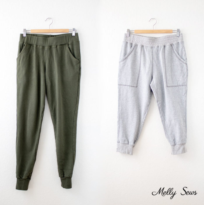 Skye Joggers in olive fleece bamboo terry and cropped length is heathered gray French terry
