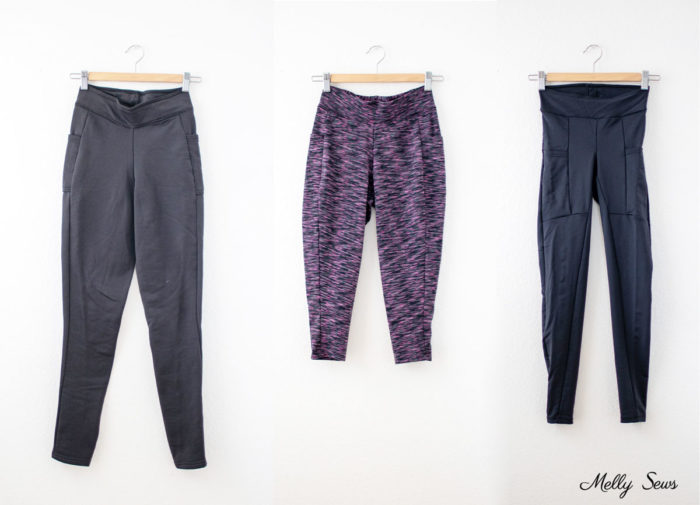 Fleece lined, cropped and regular black leggings with pockets