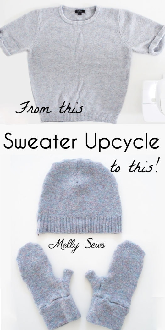 Thrift flip upcycle project - DIY beanie hat and mittens sewn from an old sweater