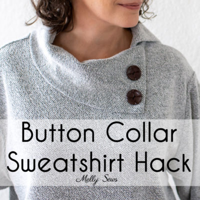 Tutorial to sew a button collar on a sweatshirt - sweater with asymmetrical button cowl