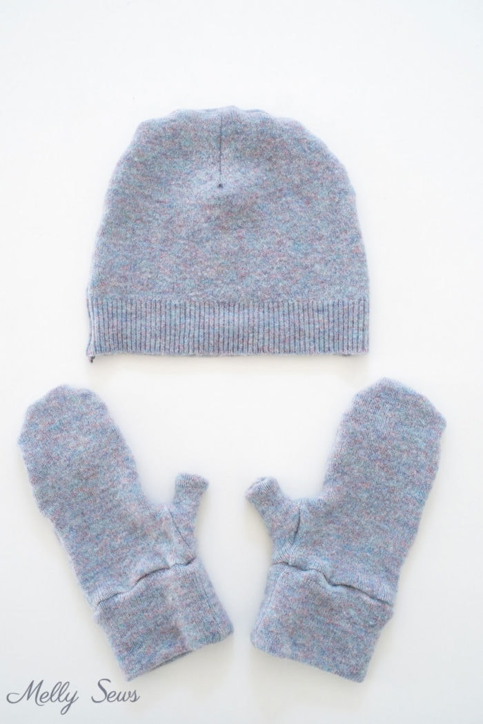 DIY Beanie hat and mittens set sewn from a shrunken sweater