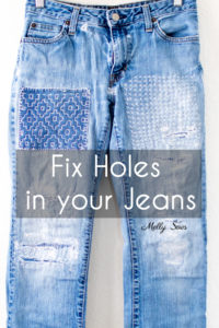 How to fix ripped jeans - visible mending to patch holes in clothing