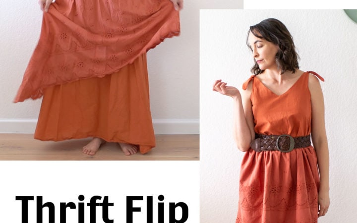 Thrift flip from long maxi dress to sundress with knotted shoulder ties