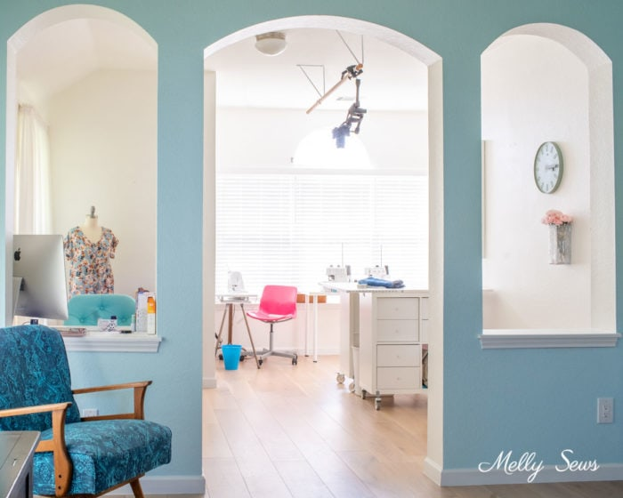Sewing room in a master bedroom - take a tour of my studio space