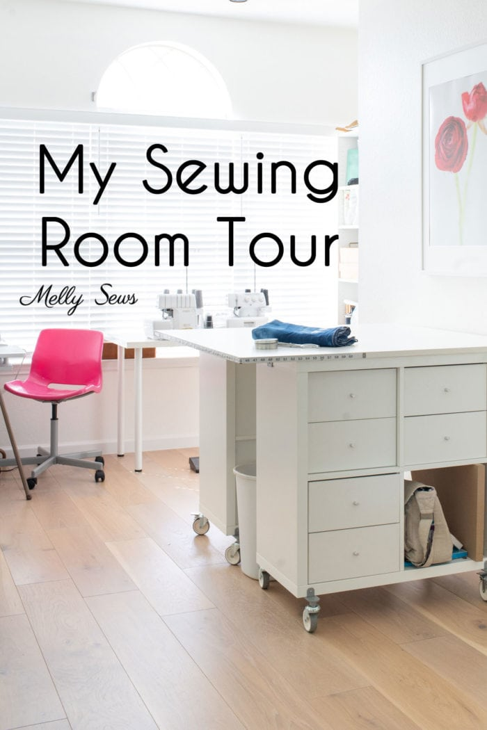 DIY Sewing cutting table on casters in a tour of one professional's creative sewing room