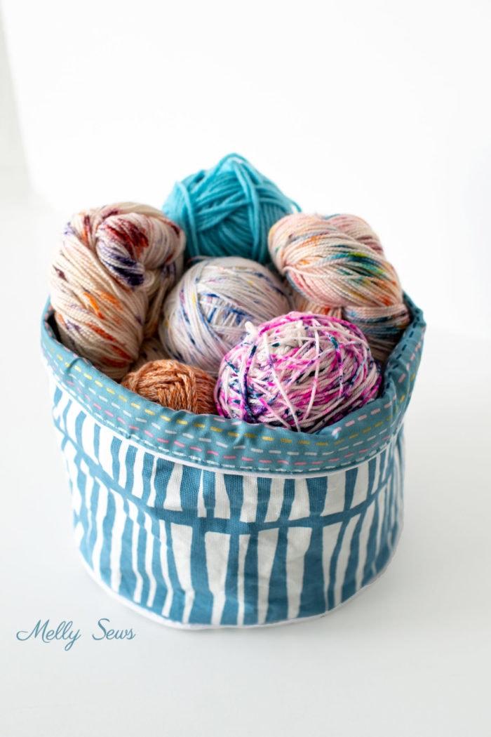 DIY Sewn Fabric Basket full of Yarn