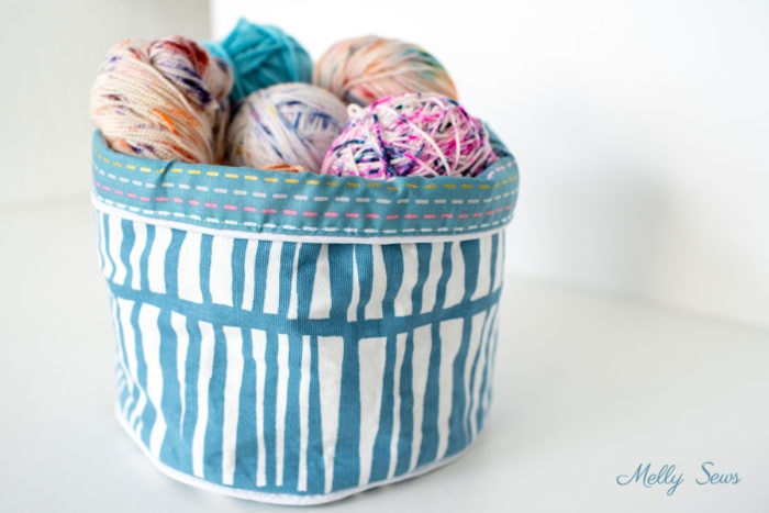 Variegated Yarn Stored in a Sewn Basket