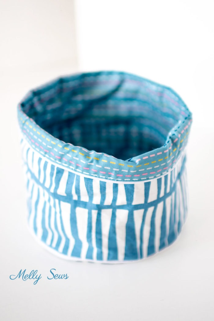 Round Fabric Basket Sewing with Lining and Piping