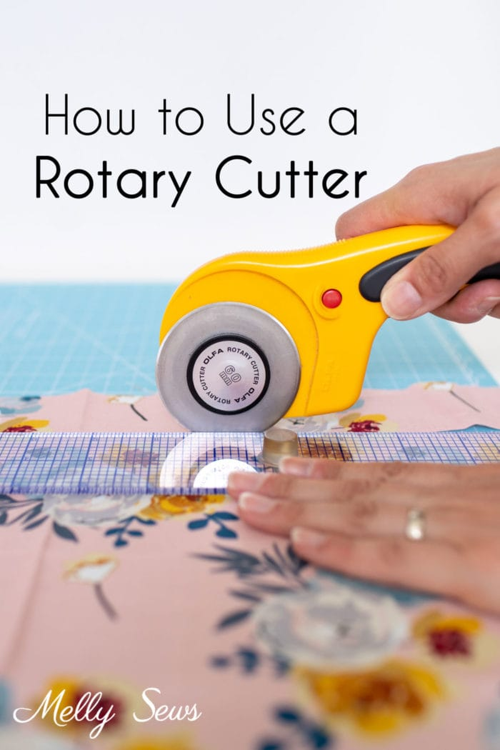 Using a rotary cutter, ruler and mat to cut fabric straight