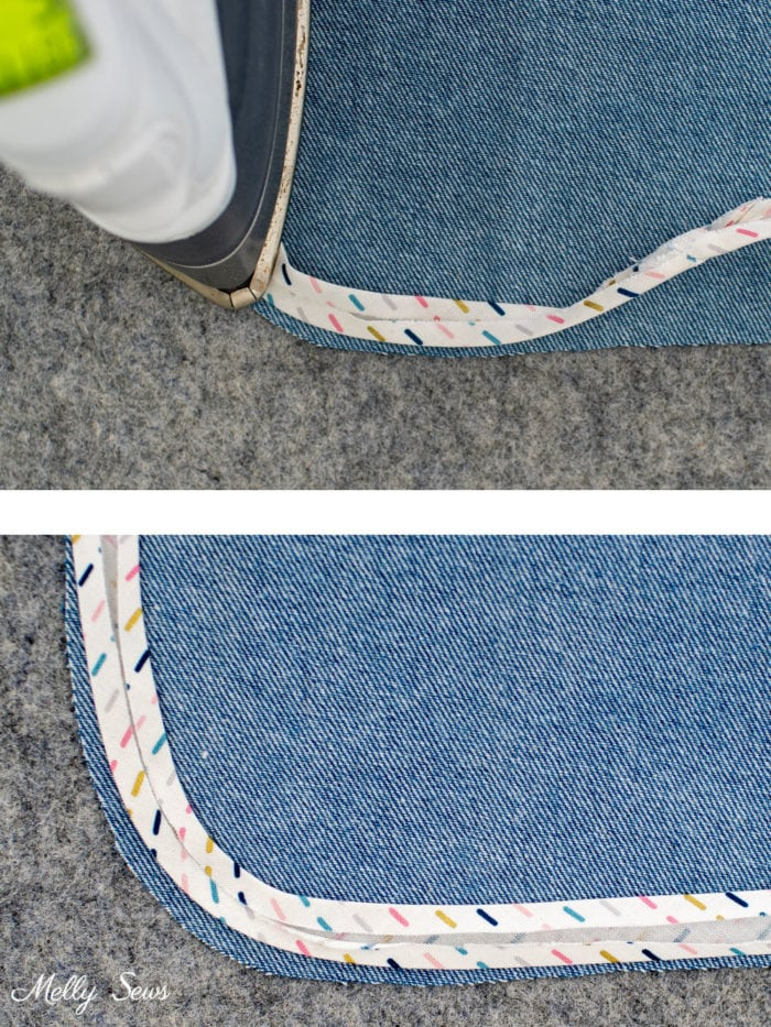 How to steam bias tape into a curved shape using an iron