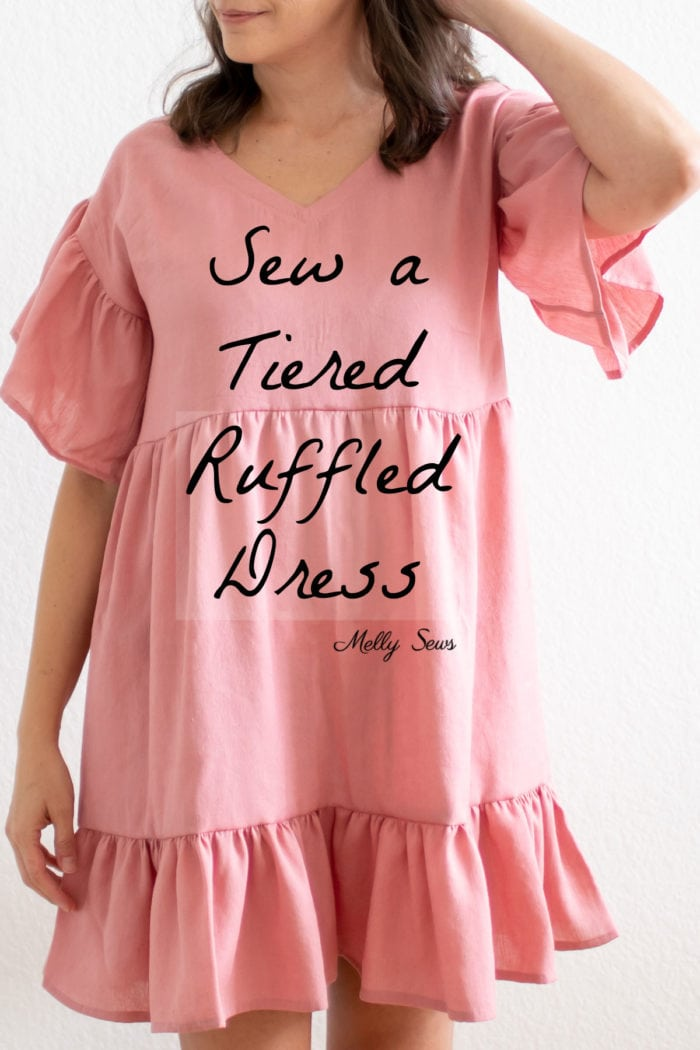 How to sew a gathered dress for women with tiers and ruffles- DIY Tutorial