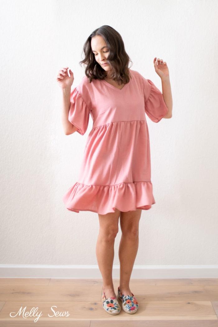Ruffled pink dress for women