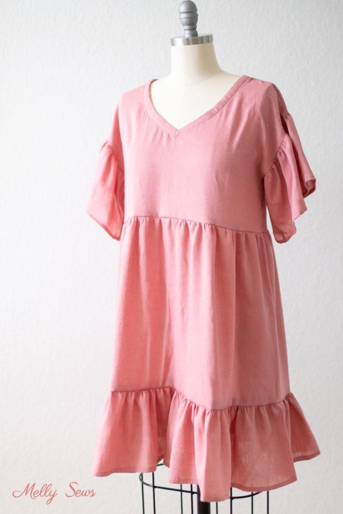 Loose fitting linen dress on a dress form