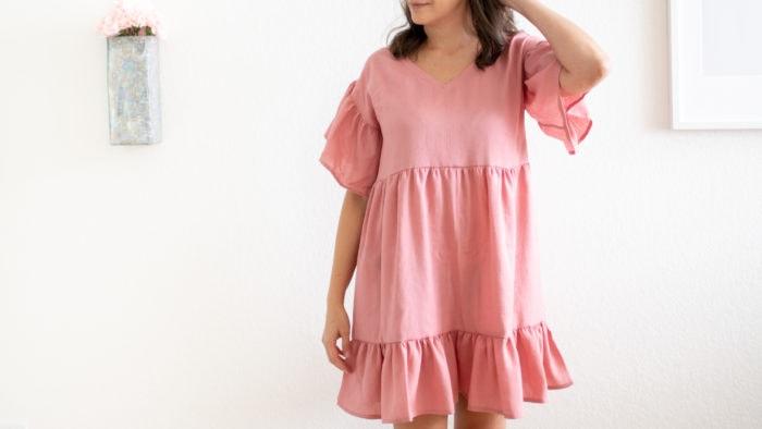 Pink ruffled women's dress