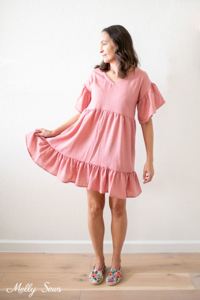 Pink V neck baby doll style dress