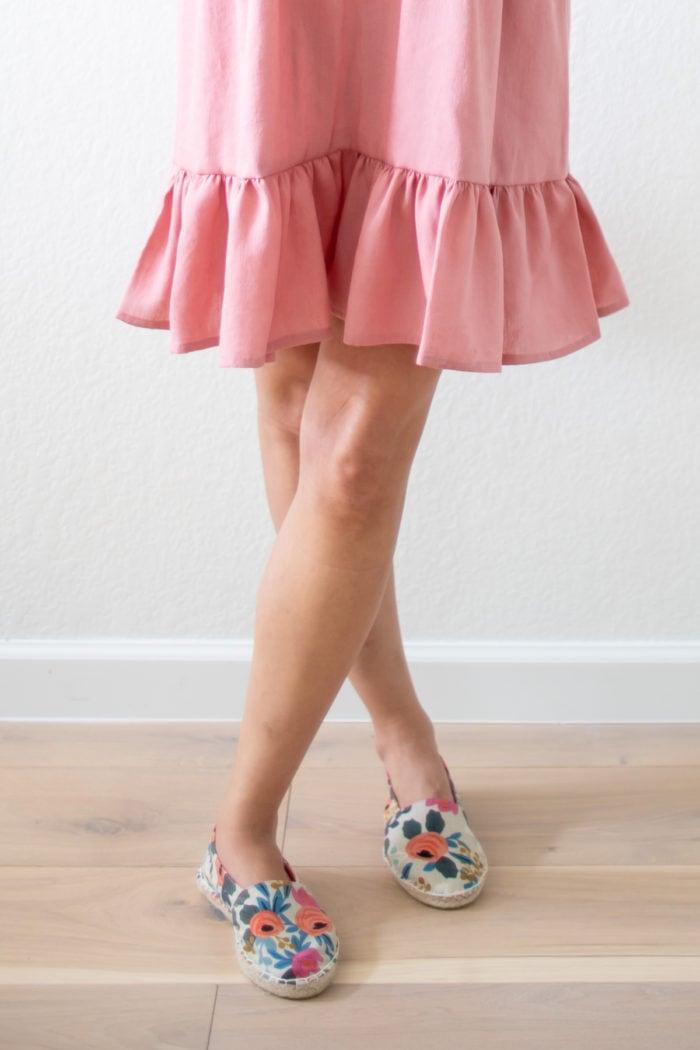 Pink ruffled skirt on a dress