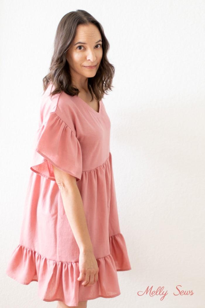 Ruffled sleeves on a mini dress