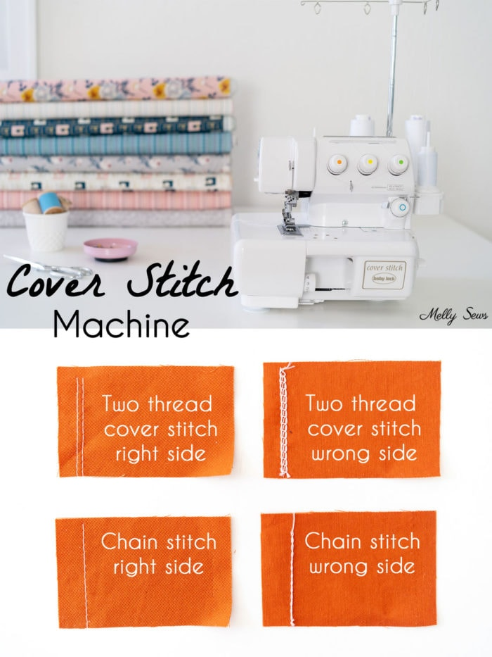 Cover stitch machine and examples of stitches a cover stitch machine can do