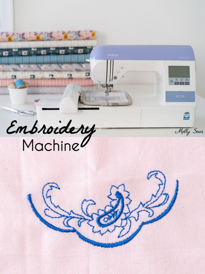 Embroidery machine and example of a machine stitched embroider design