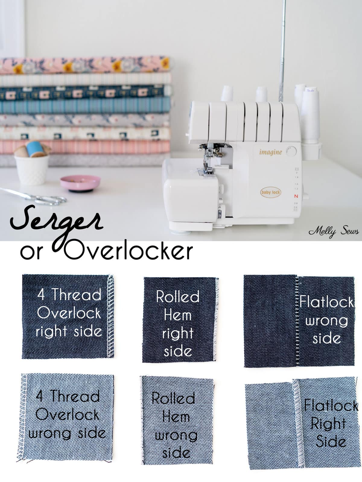 Serger or Overlocker and a sample of stitches a serger can do