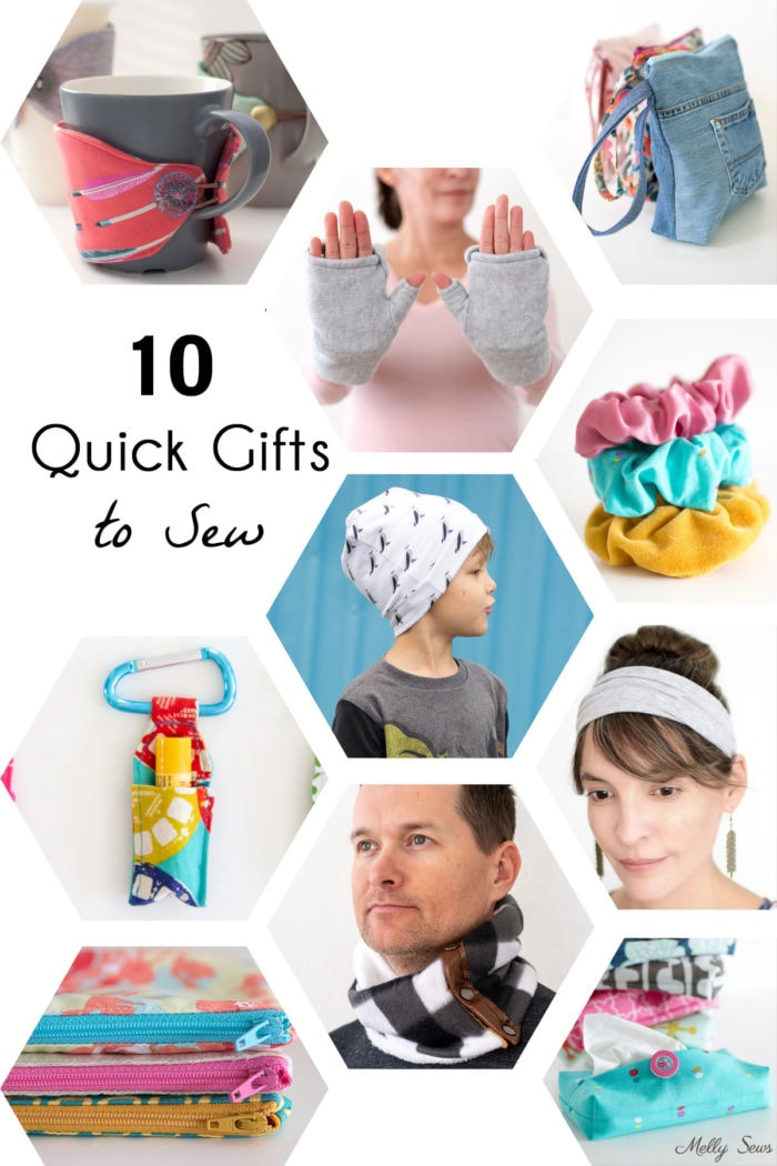 Images of 10 different gifts to sew for kids, women and men, including a coffee cozy, mittens, zip bags, scrunchies, hats, headbands, chapstick holder, tissue holder and cowl