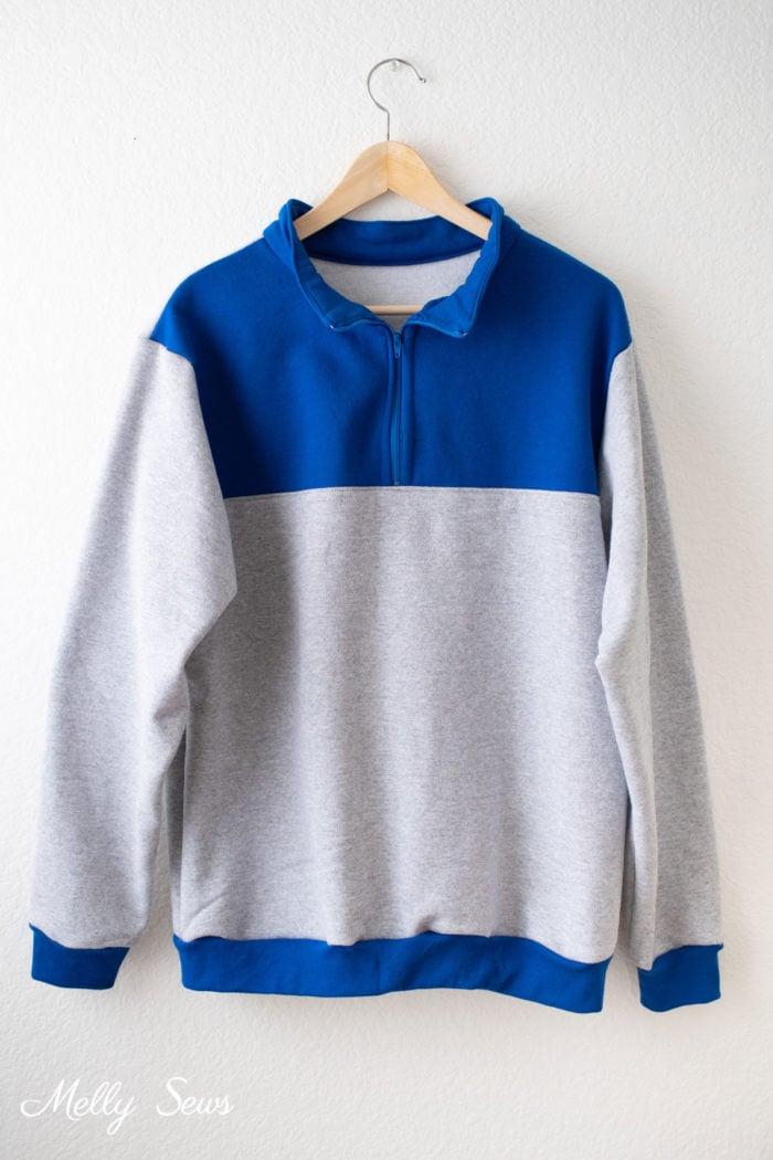 Blue and Gray Half Zip Sweatshirt