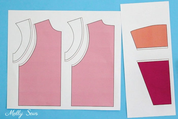 Pattern pieces to sew a colorblocked hoodie inspired by one worn by Lana Condor in P.S. I Still Love You