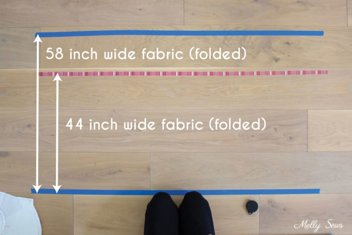 Standard fabric widths marked on the floor with tape to figure out how much fabric a project will use