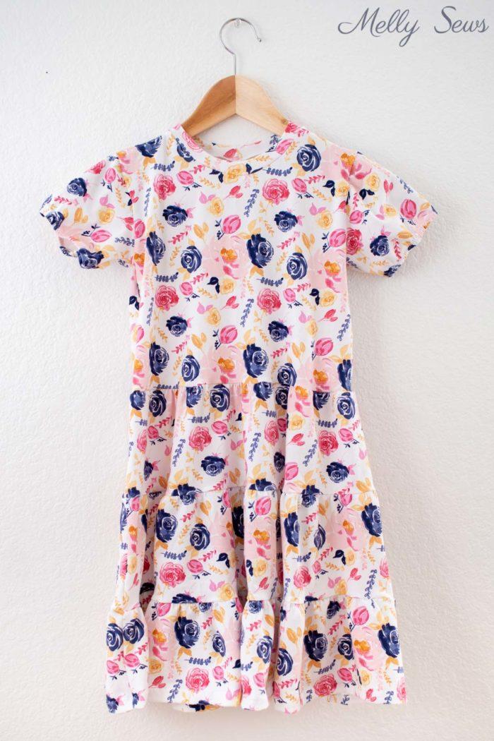 White floral knit print girls dress by Melissa Mora for Riley Blake Designs
