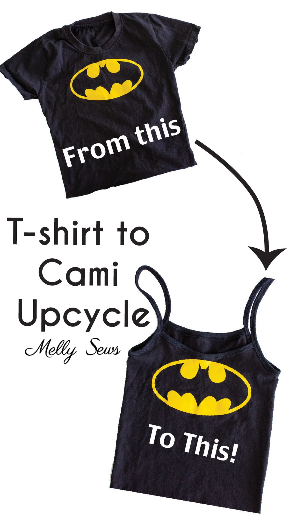 DIY Tee to Cami upcycle, a t-shirt thrift flip sewing project