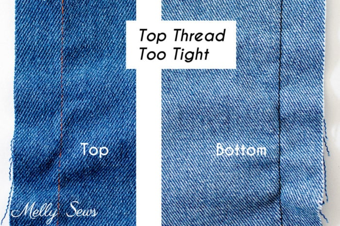 Right side and wrong side of a piece of denim fabric showing incorrect stitching due to too much tension