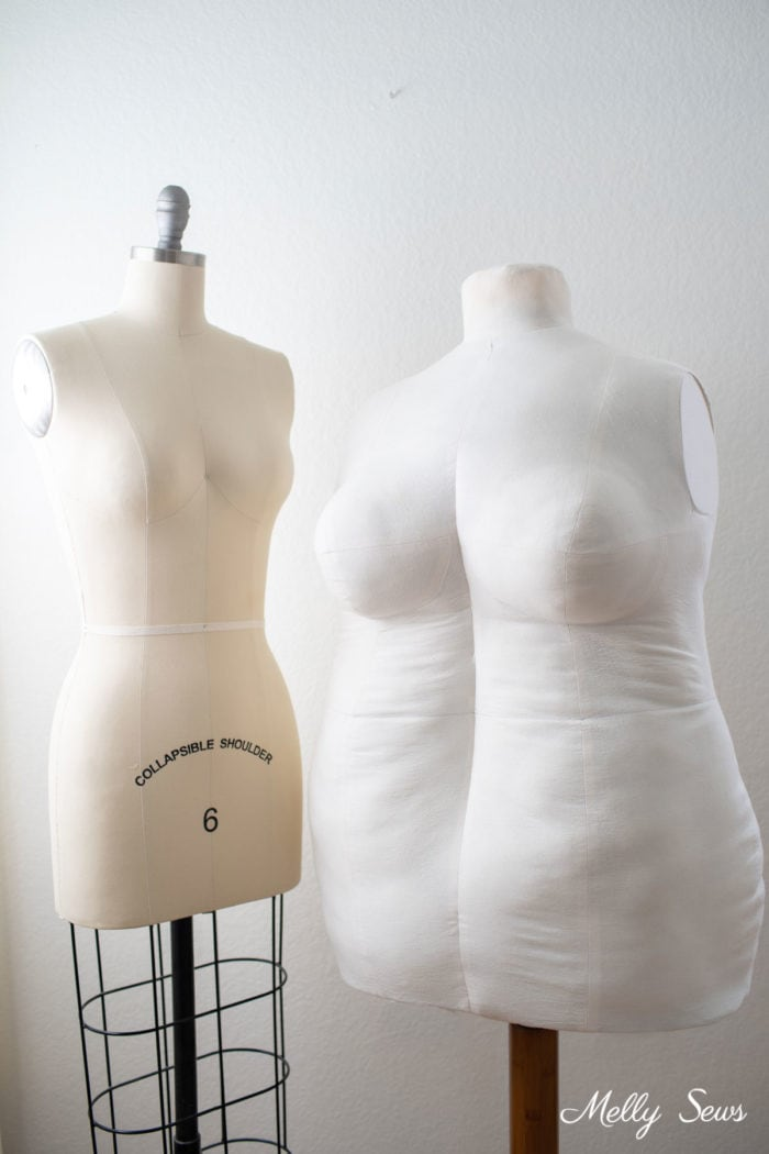 Misses and Plus Size Dress Forms, one a professional form and one a DIY form
